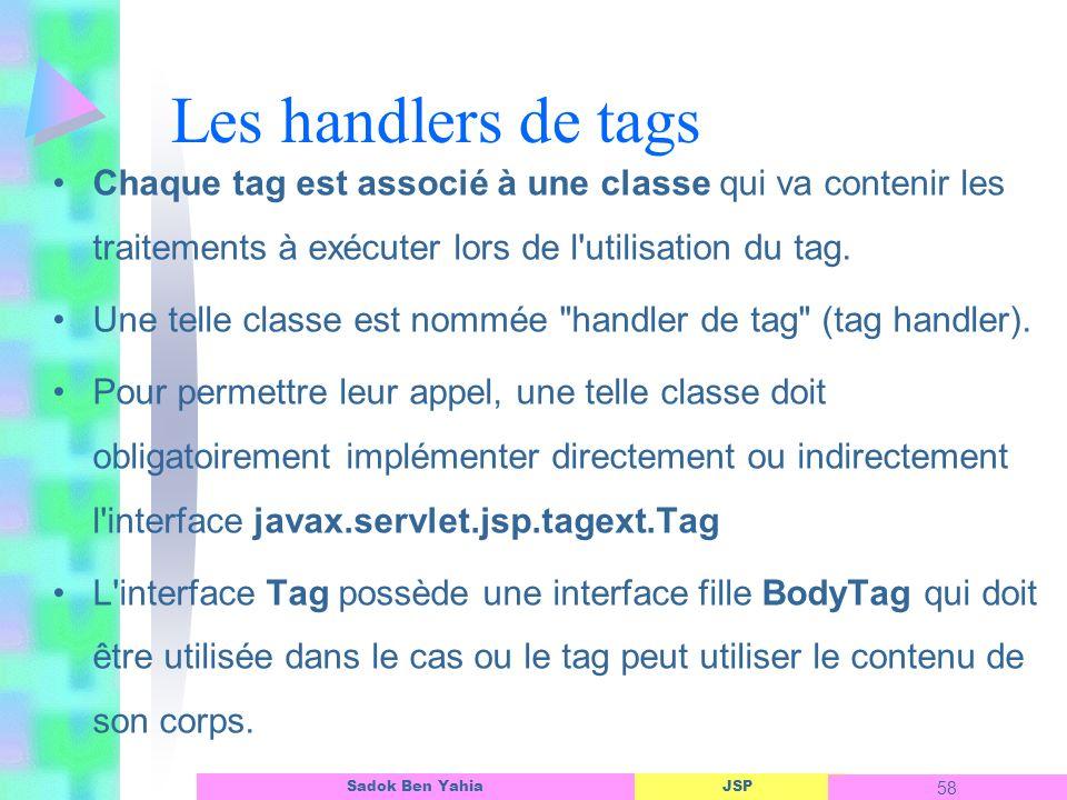 Les handlers de tags Chaque tag est associé à une classe qui va contenir les traitements à exécuter lors de l utilisation du tag.