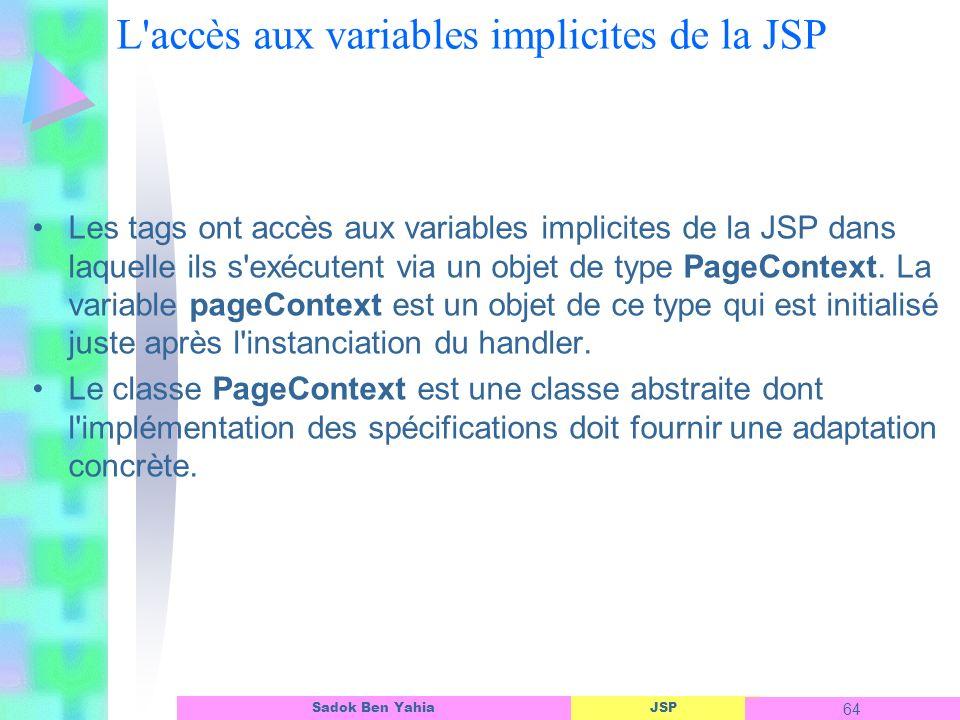 L accès aux variables implicites de la JSP