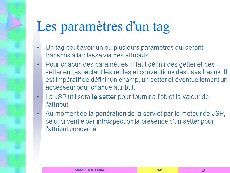 Les paramètres d un tag Un tag peut avoir un ou plusieurs paramètres qui seront transmis à la classe via des attributs.
