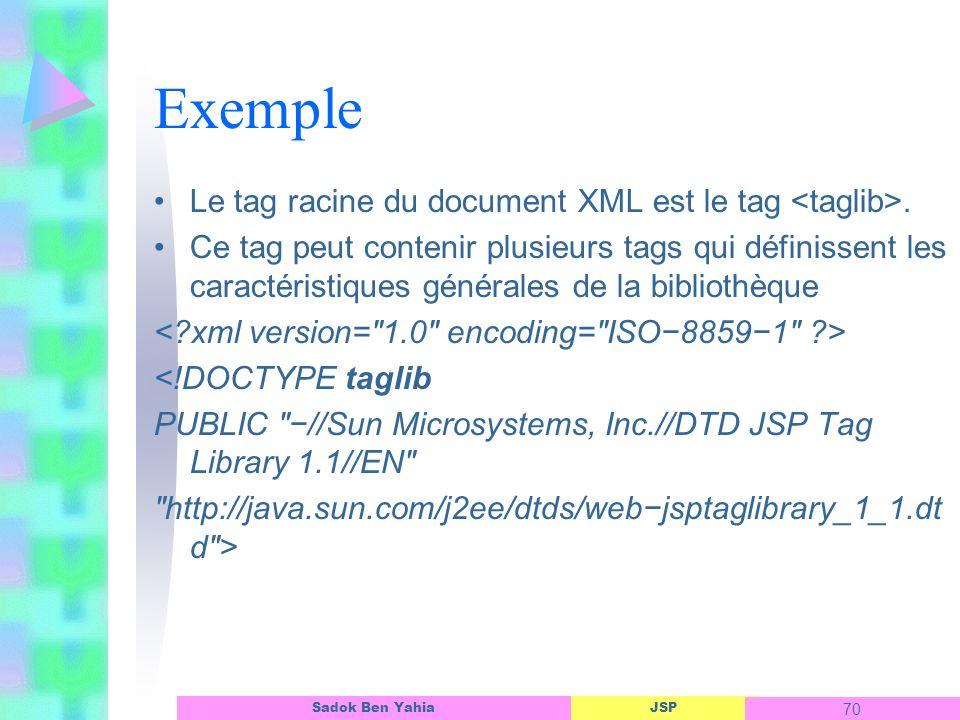 Exemple Le tag racine du document XML est le tag <taglib>.