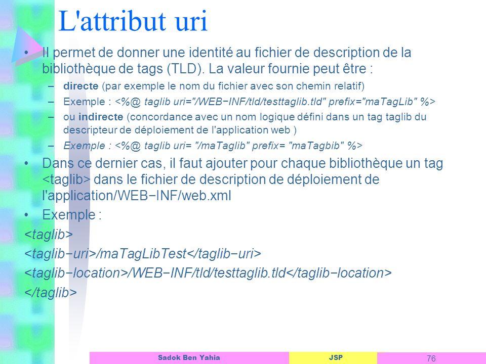 L attribut uri Il permet de donner une identité au fichier de description de la bibliothèque de tags (TLD). La valeur fournie peut être :