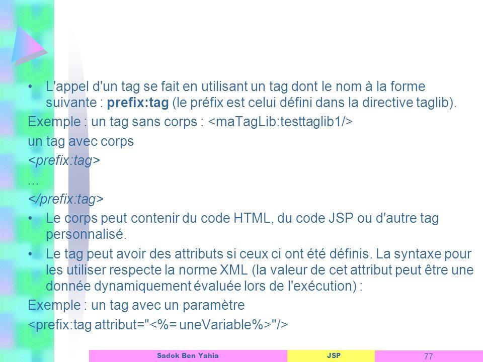 L appel d un tag se fait en utilisant un tag dont le nom à la forme suivante : prefix:tag (le préfix est celui défini dans la directive taglib).