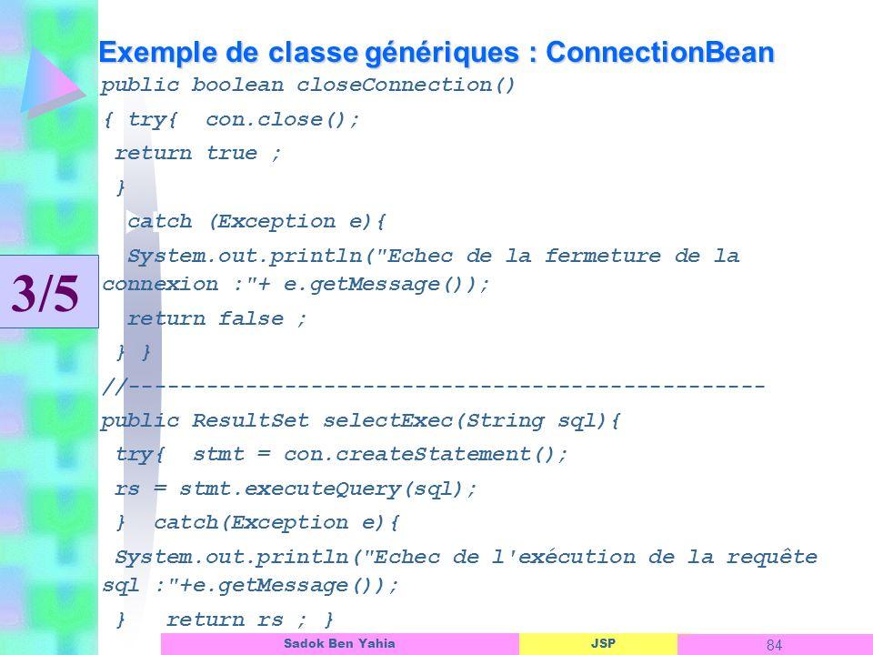 Exemple de classe génériques : ConnectionBean