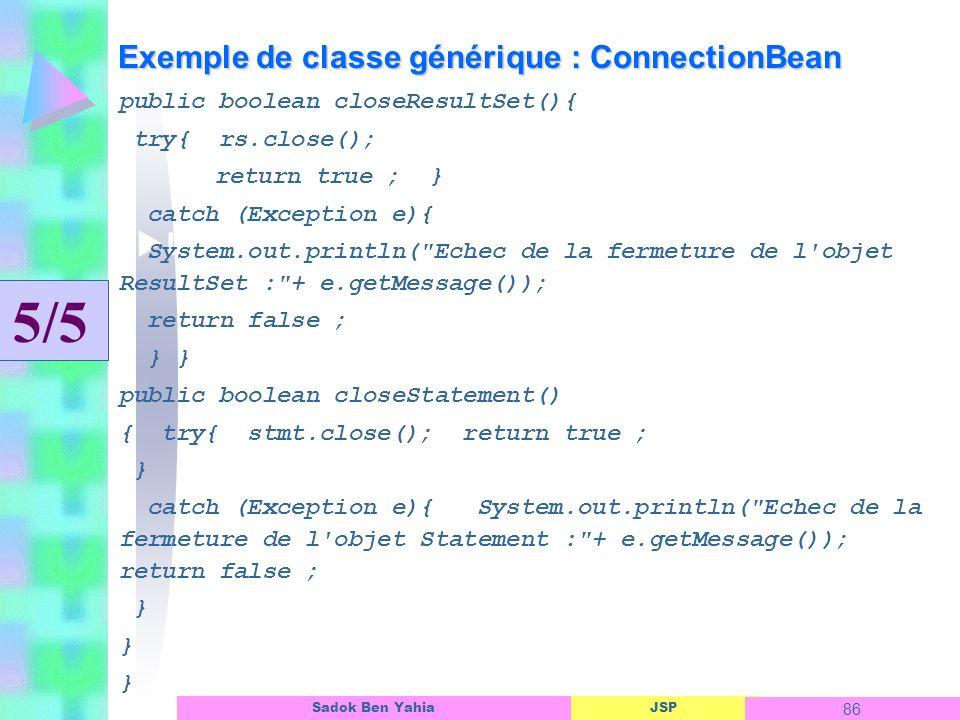 Exemple de classe générique : ConnectionBean