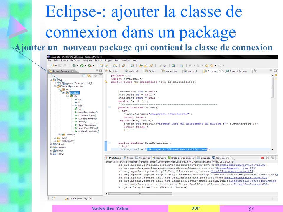 Eclipse-: ajouter la classe de connexion dans un package