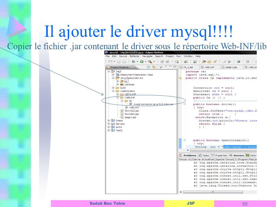 Il ajouter le driver mysql!!!!