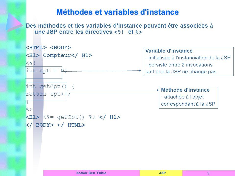 Méthodes et variables d instance