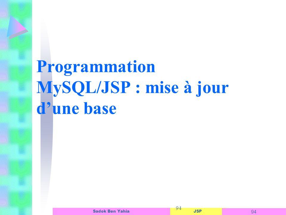 Programmation MySQL/JSP : mise à jour d'une base