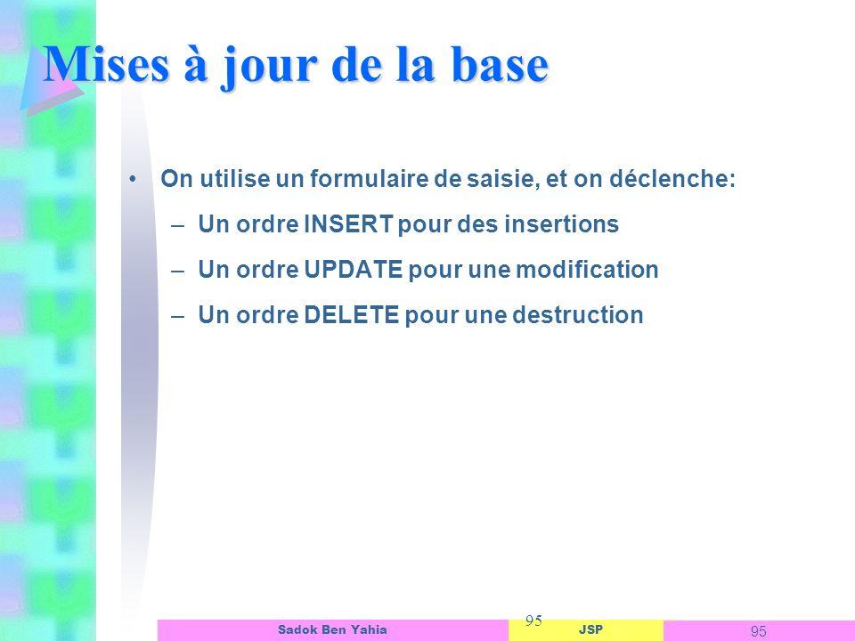 Mises à jour de la base On utilise un formulaire de saisie, et on déclenche: Un ordre INSERT pour des insertions.