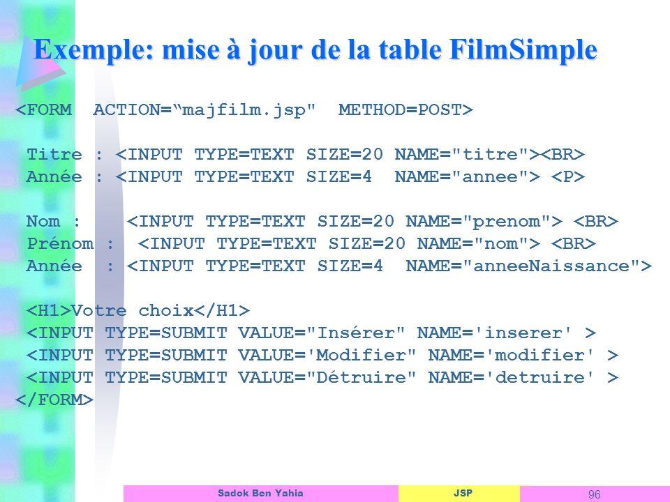 Exemple: mise à jour de la table FilmSimple
