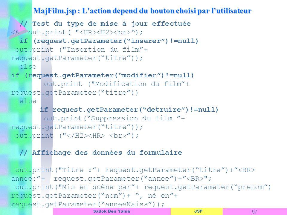 MajFilm.jsp : L action depend du bouton choisi par l utilisateur