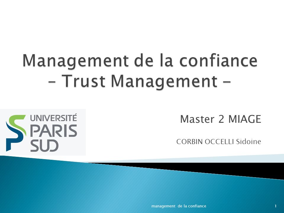Management de la confiance – Trust Management -