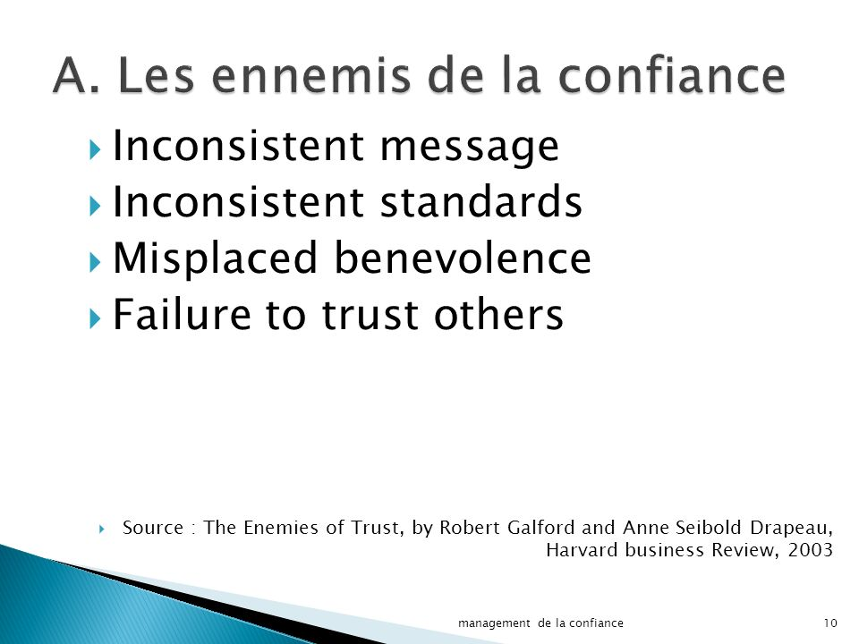 A. Les ennemis de la confiance