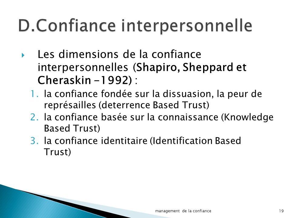 D.Confiance interpersonnelle