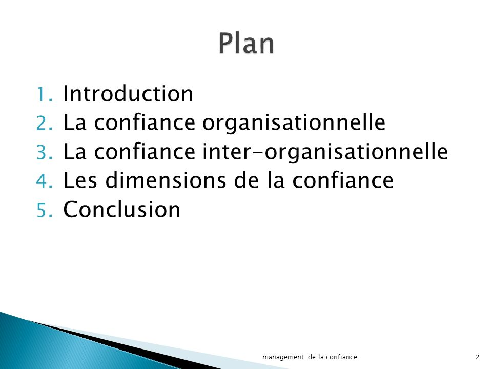 Plan Introduction La confiance organisationnelle