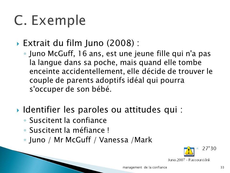 C. Exemple Extrait du film Juno (2008) :