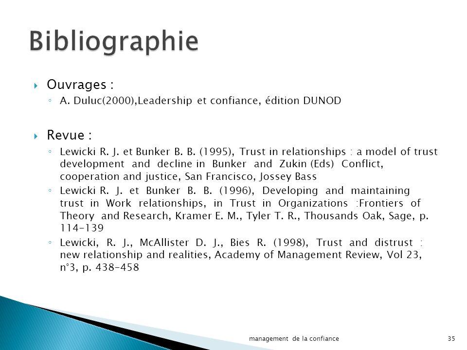 Bibliographie Ouvrages : Revue :
