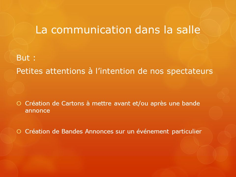 La communication dans la salle