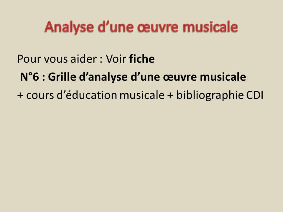 Analyse d'une œuvre musicale