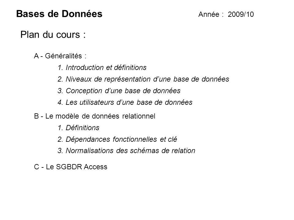 Bases de Données Plan du cours : Année : 2009/10 A - Généralités :