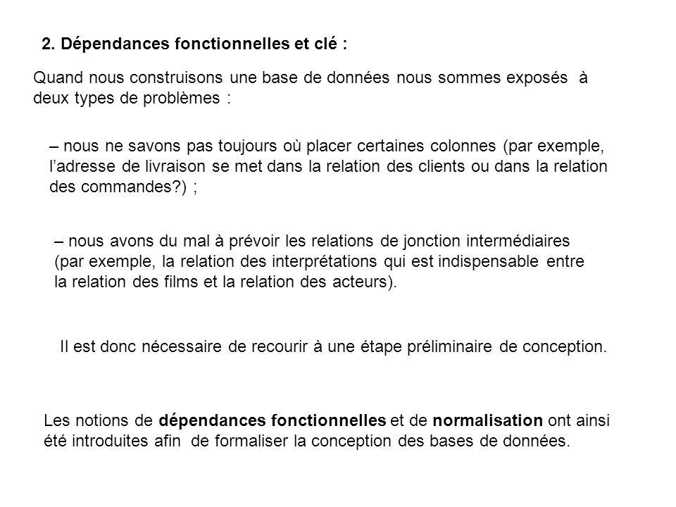 2. Dépendances fonctionnelles et clé :