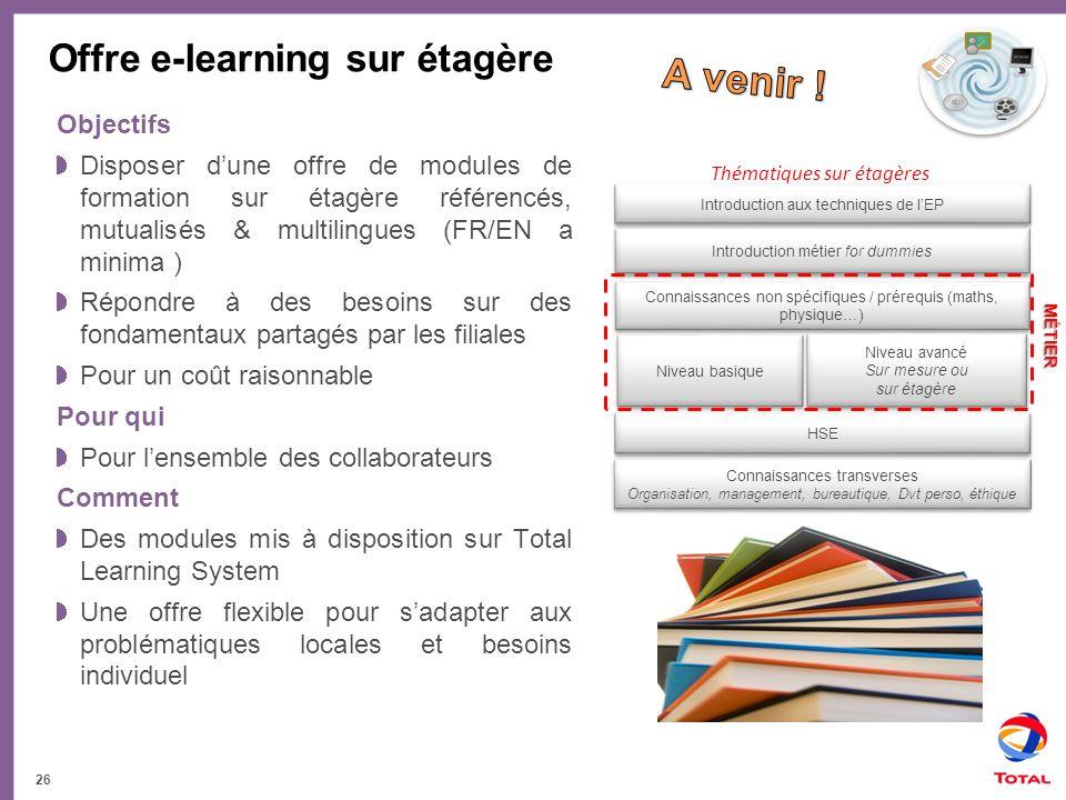 Offre e-learning sur étagère