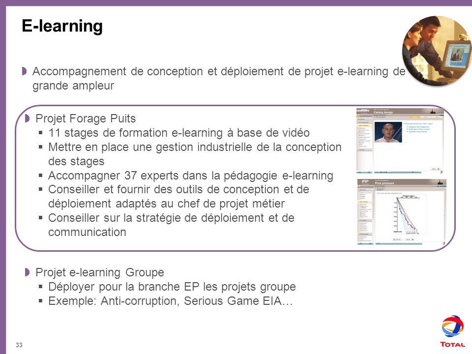 E-learning Accompagnement de conception et déploiement de projet e-learning de grande ampleur. Projet Forage Puits.