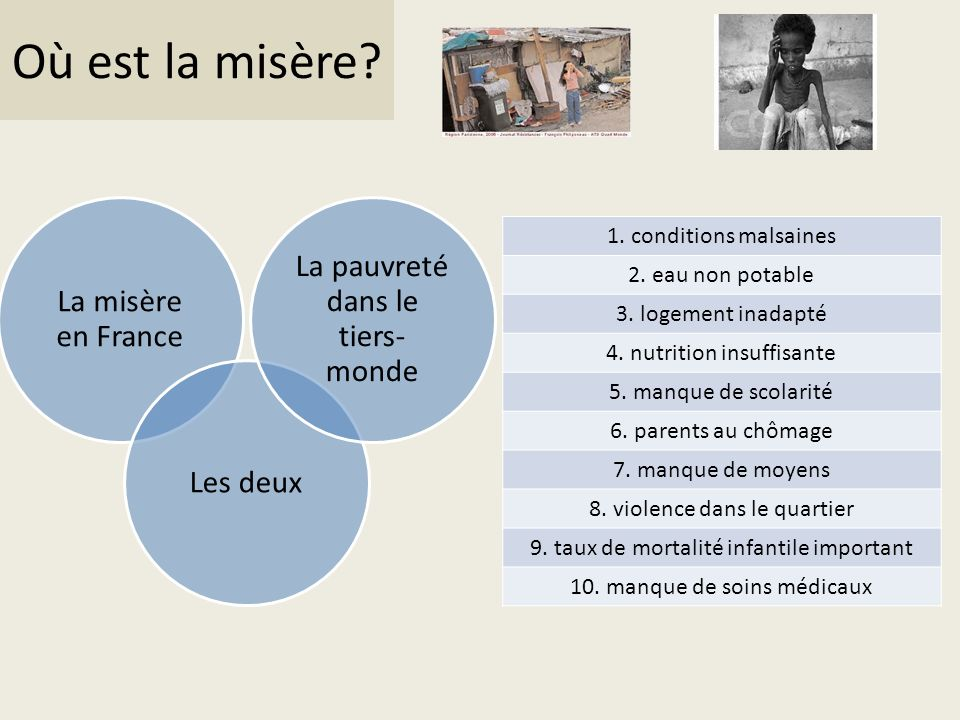 Où est la misère La pauvreté dans le tiers-monde La misère en France