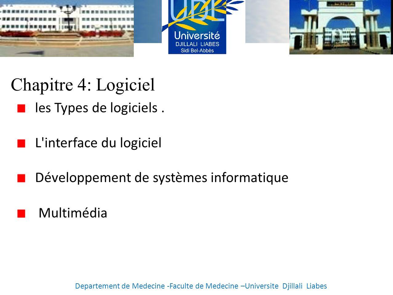 Chapitre 4: Logiciel les Types de logiciels . L interface du logiciel