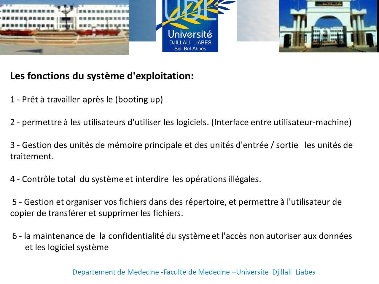 Les fonctions du système d exploitation: