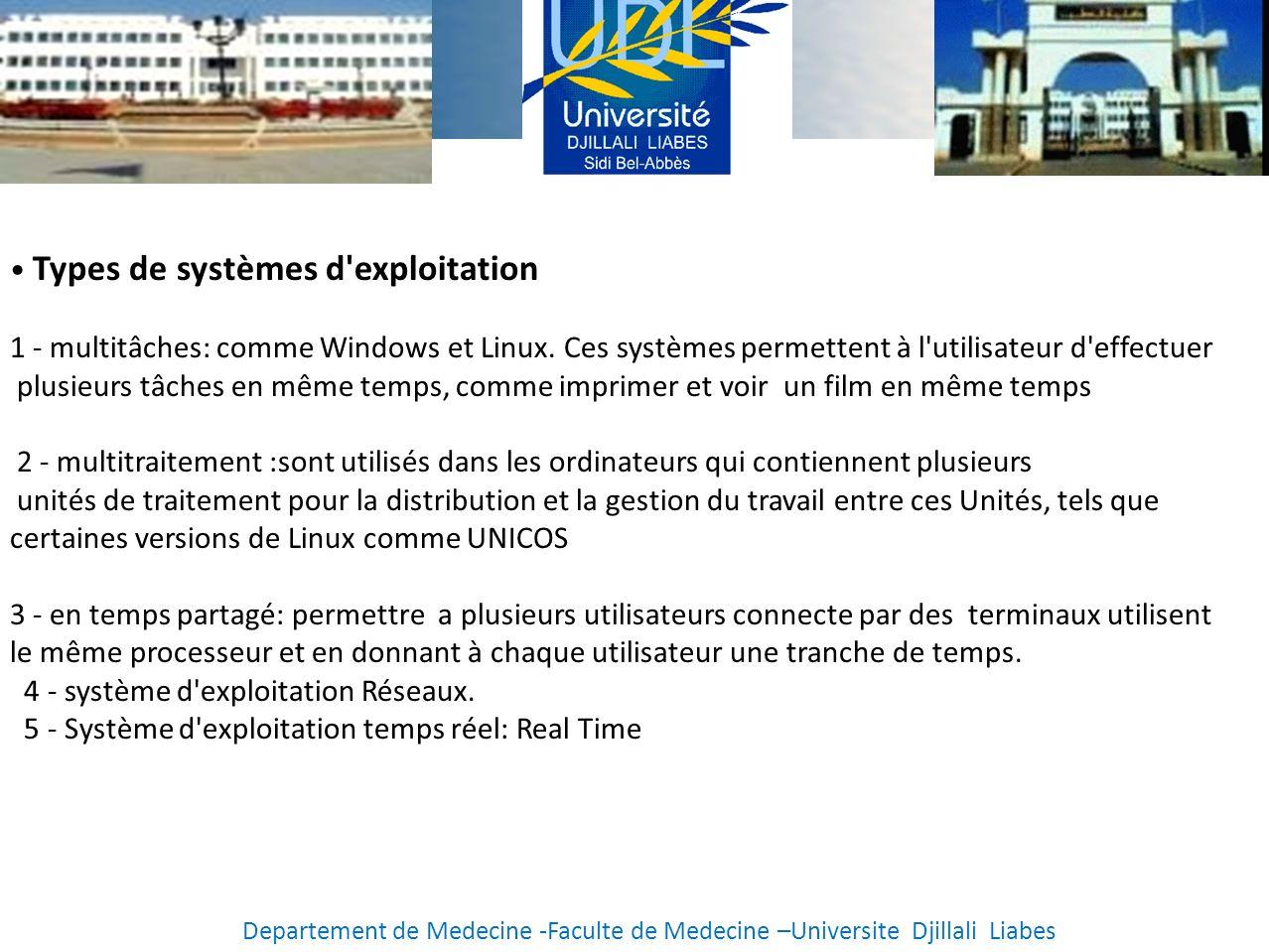 • Types de systèmes d exploitation
