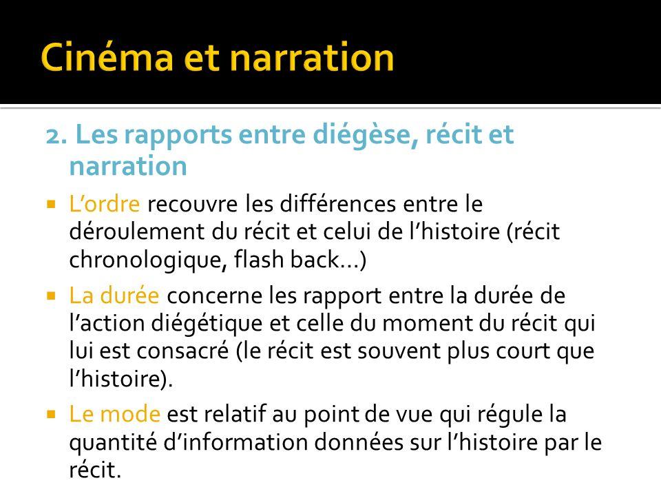 Cinéma et narration 2. Les rapports entre diégèse, récit et narration