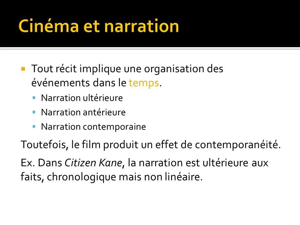 Cinéma et narration Tout récit implique une organisation des événements dans le temps. Narration ultérieure.