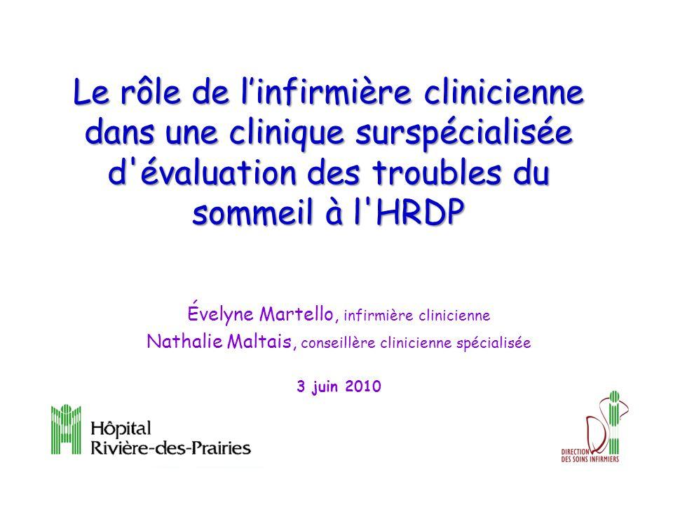 Le rôle de l'infirmière clinicienne dans une clinique surspécialisée d évaluation des troubles du sommeil à l HRDP