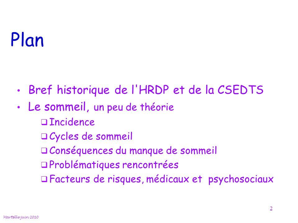 Plan Bref historique de l HRDP et de la CSEDTS