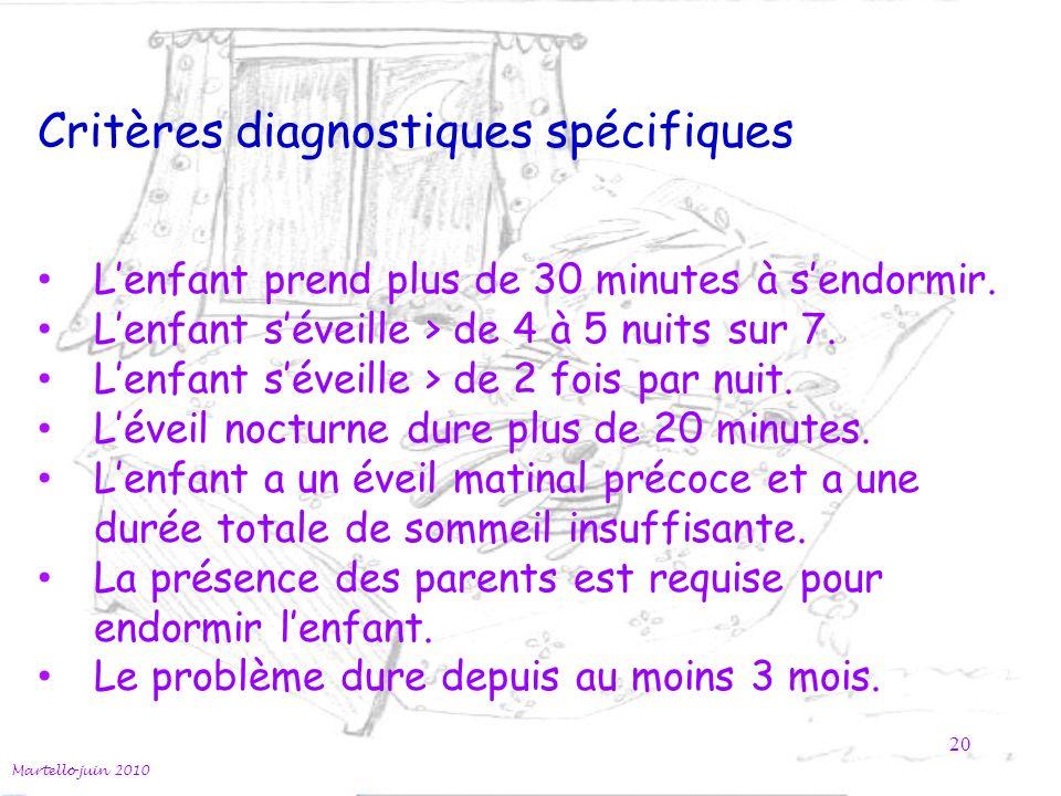 Critères diagnostiques spécifiques