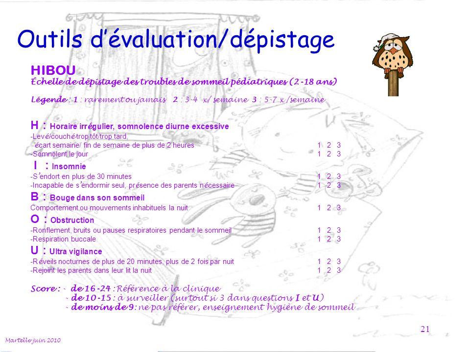 Outils d'évaluation/dépistage