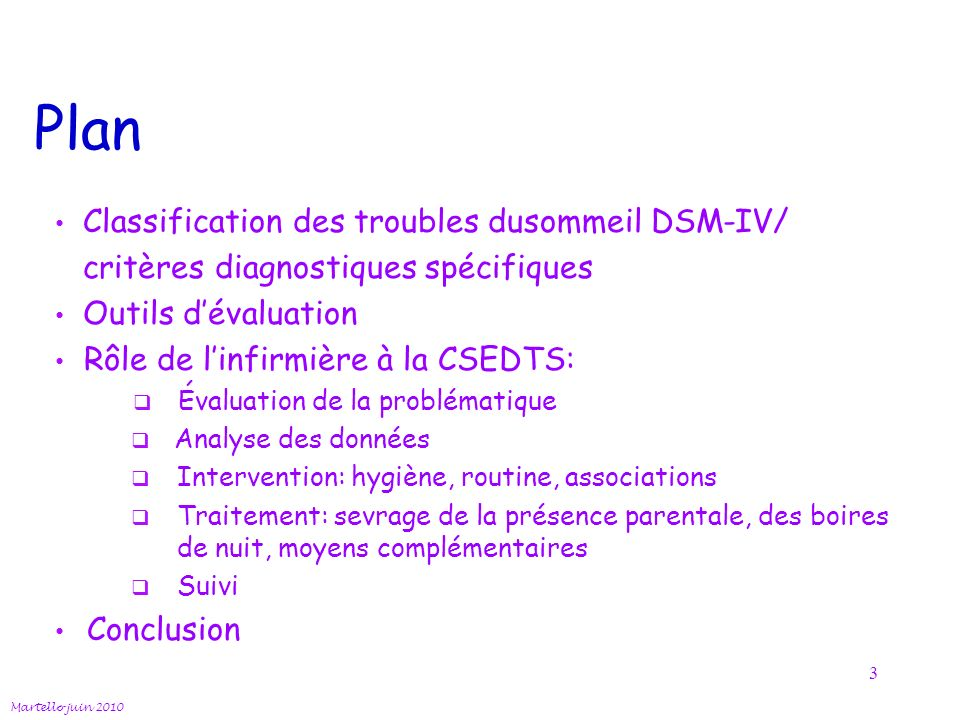 Plan Classification des troubles dusommeil DSM-IV/