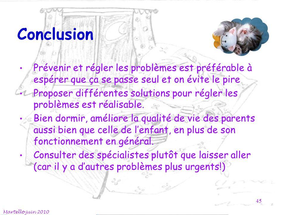 Conclusion Prévenir et régler les problèmes est préférable à espérer que ça se passe seul et on évite le pire.
