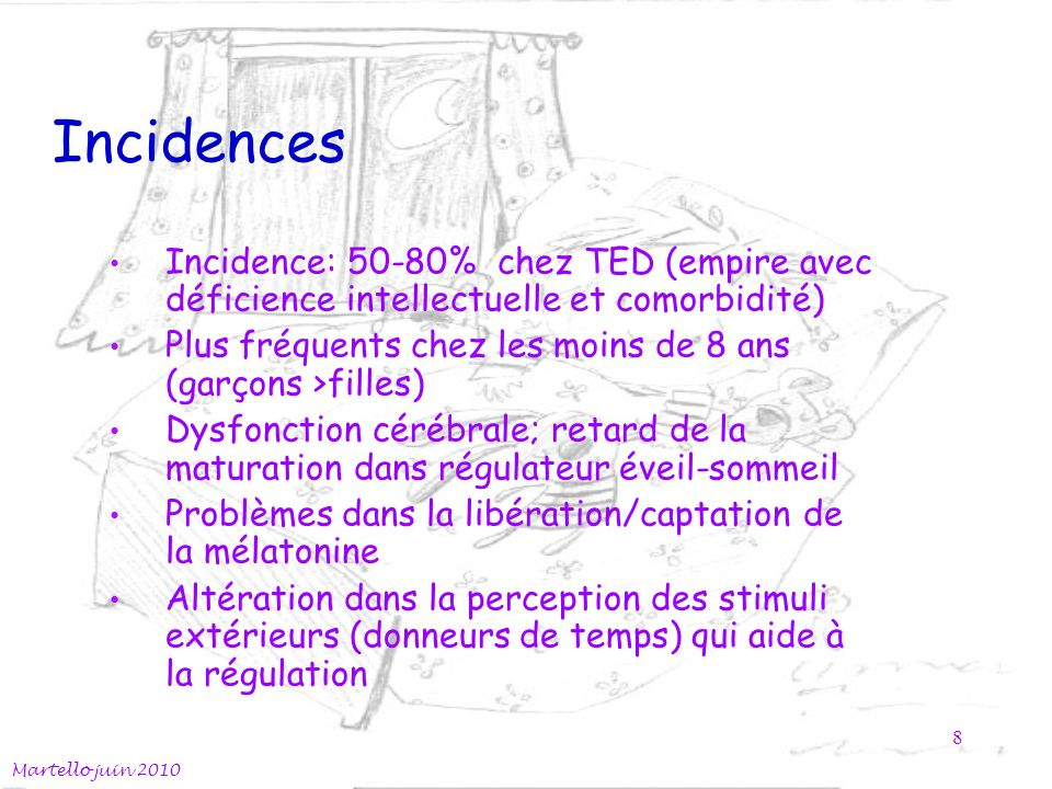 Incidences Incidence: 50-80% chez TED (empire avec déficience intellectuelle et comorbidité)