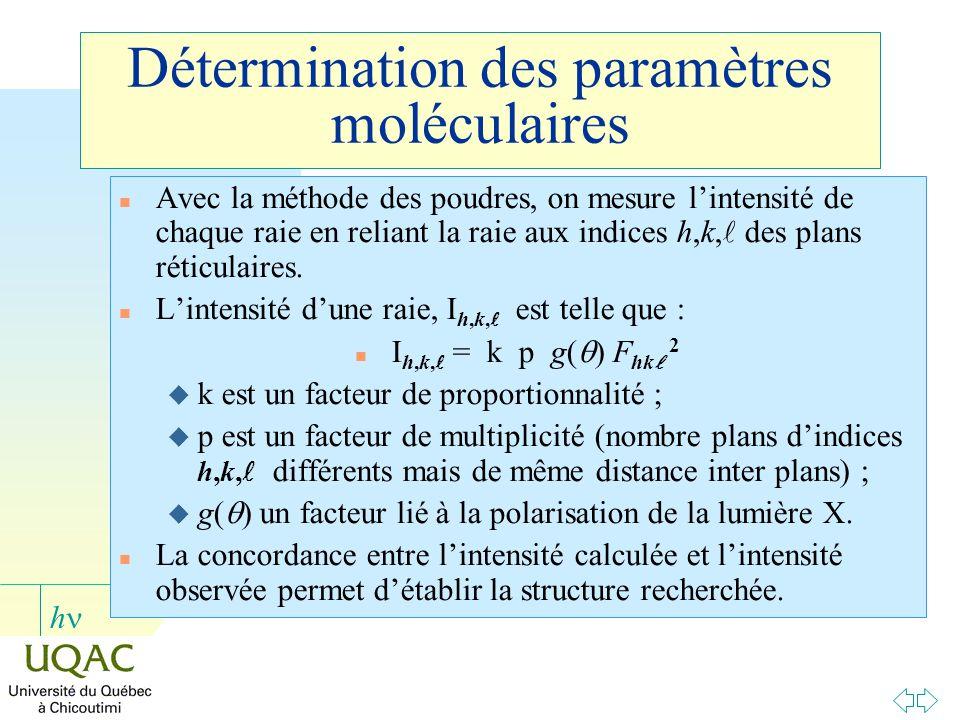 Détermination des paramètres moléculaires