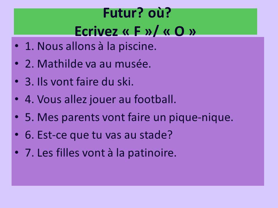 Futur où Ecrivez « F »/ « O »