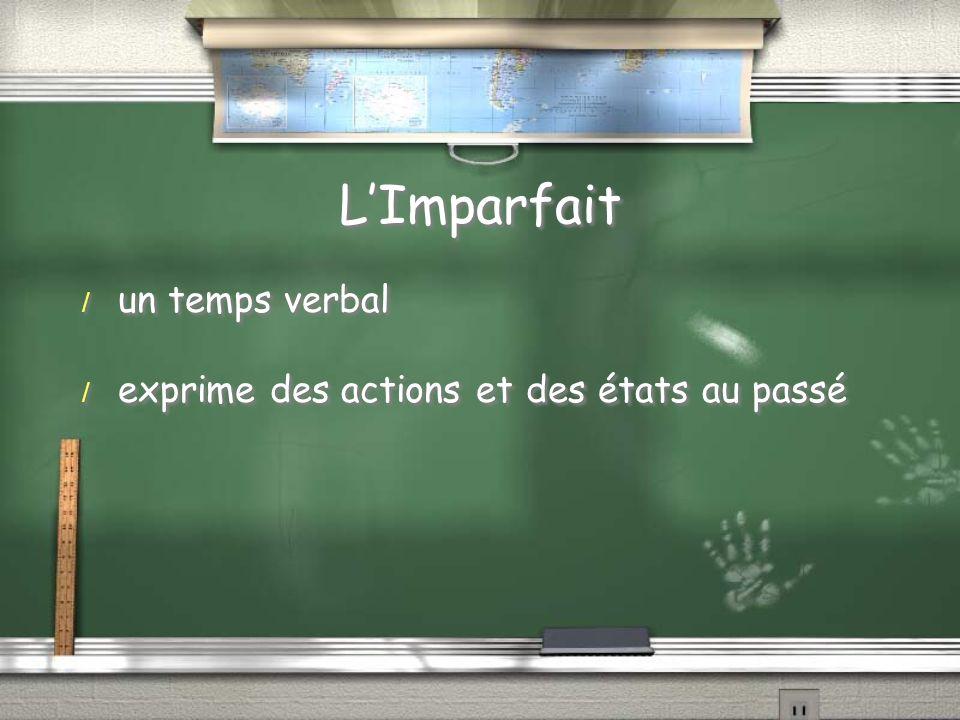 L'Imparfait un temps verbal exprime des actions et des états au passé