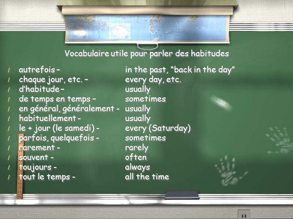 Vocabulaire utile pour parler des habitudes