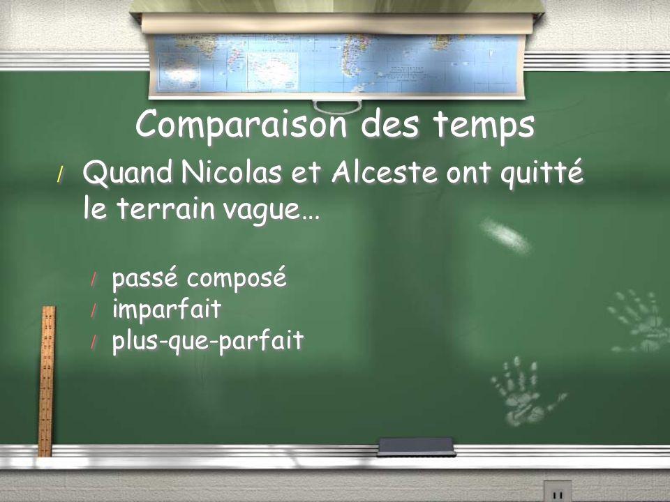 Comparaison des temps Quand Nicolas et Alceste ont quitté le terrain vague… passé composé. imparfait.