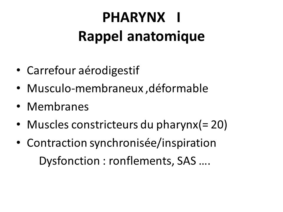PHARYNX I Rappel anatomique