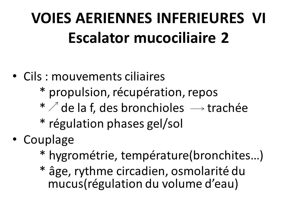 VOIES AERIENNES INFERIEURES VI Escalator mucociliaire 2