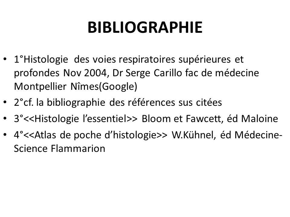 BIBLIOGRAPHIE 1°Histologie des voies respiratoires supérieures et profondes Nov 2004, Dr Serge Carillo fac de médecine Montpellier Nîmes(Google)