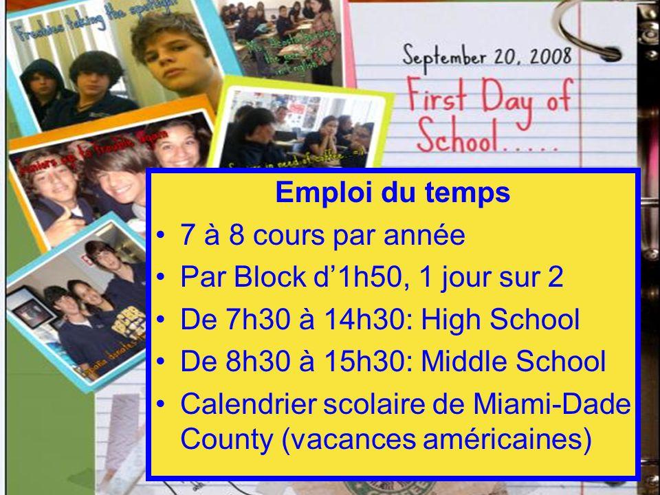 Emploi du temps 7 à 8 cours par année. Par Block d'1h50, 1 jour sur 2. De 7h30 à 14h30: High School.