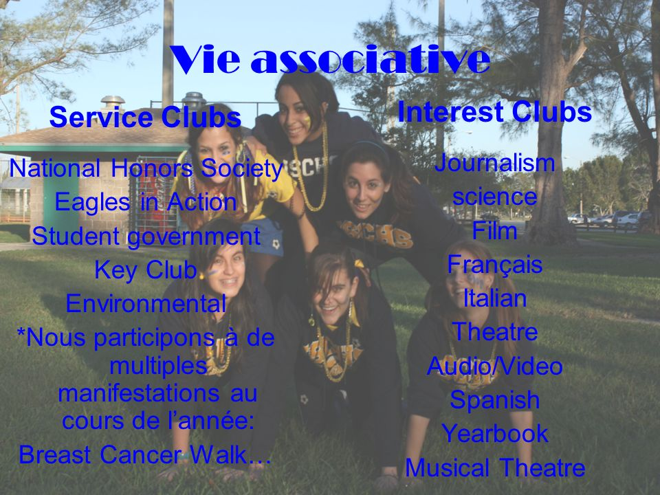 Vie associative Interest Clubs Service Clubs Journalism